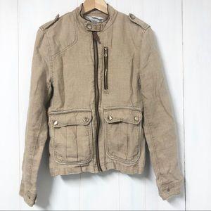 Zara Man Tan Linen Utility Jacket Size 5